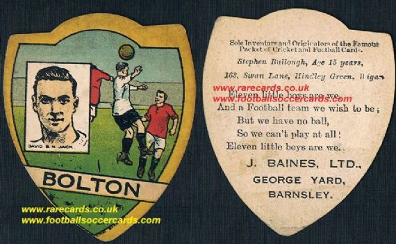 1922 David Jack Bolton Arsenal Boro Southend Baines poetry back football card.jpg